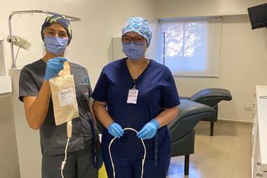 Mascarillas de infusión para pacientes del Hospital Británico de Rosario