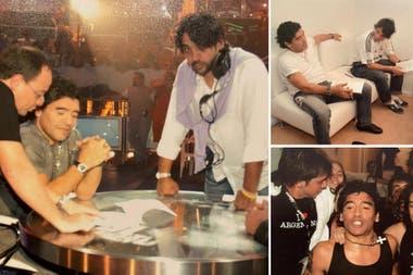 Coco Fernández, uno de los productores generales de La Noche del 10 en plena faena junto a Pablo Codevilla y Diego Armando Maradona