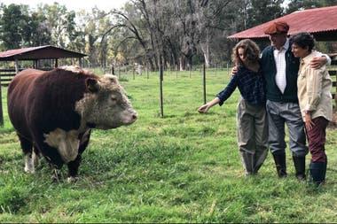 Marina Born con su marido Roberto Engels, su hija menor y Batacazo, el toro de la cabaña