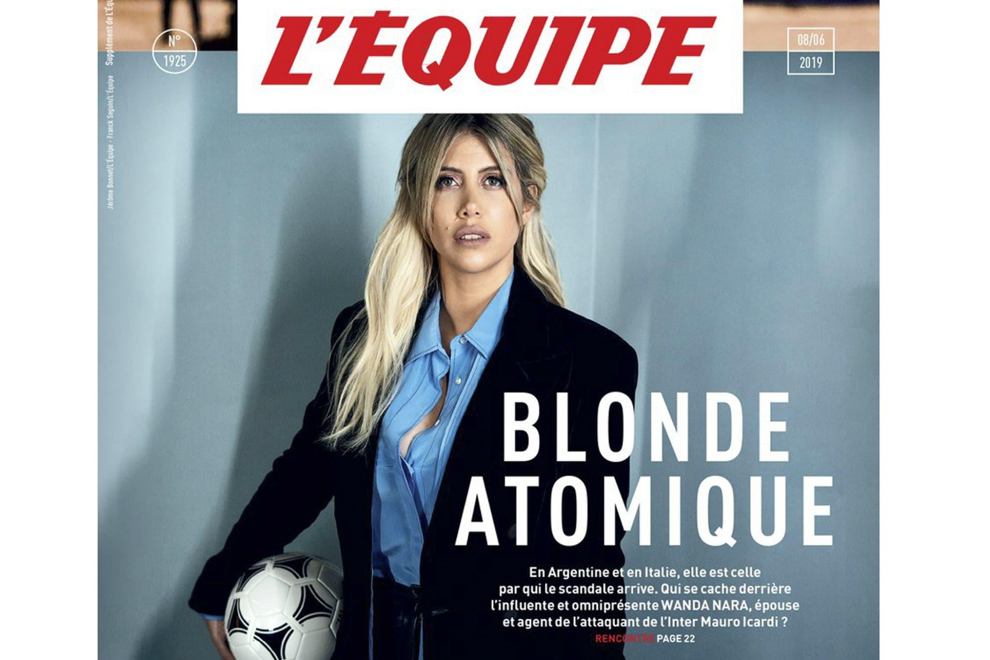 "Wanda Nara, en la tapa de L'Equipe: ""Rubia atómica"""