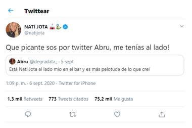 El filoso cruce de Nati Jota con una usuaria de Twitter que la insultó en las redes