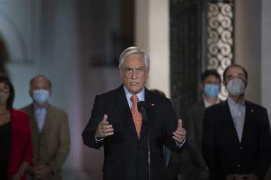 El presidente chileno Sebastián Piñera, ayer durante un discurso en el Palacio de la Moneda