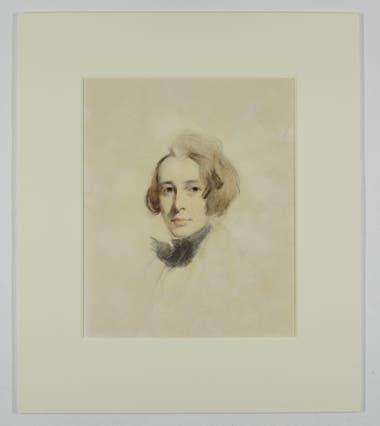 Retrato de Dickens, boceto realizado por Lawerence en tiza y pasteles,1837