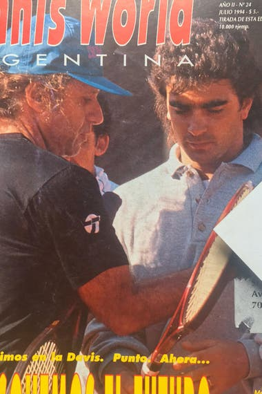 Pérez Roldán con Guillermo Vilas, en una tapa de revista: Rocky trabajó con el Poeta en la Escuela Nacional, en 1994.