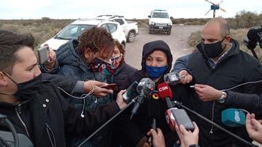 Cristina Castro, madre de Facundo, en el lugar donde fueron encontrados los restos que podrían ser de su hijo