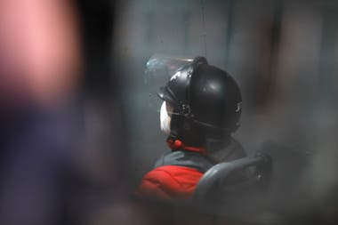 Lázaro Báez, anoche, en el móvil del Servicio Penitenciario