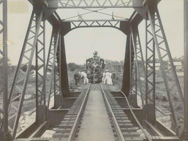 La inauguración del puente sobre el río Sabie, en 1912. Ahora el hotel-tren está detenido sobre él.