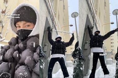 Úrsula Corberó juega feliz con la nieve en Madrid
