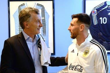 Macri y Messi, durante el último encuentro antes del Mundial