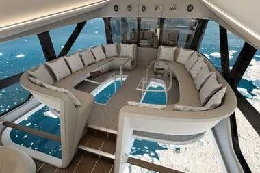 El interior del Airlander 10: la base será transparente para ver el terreno que se está sobrevolando