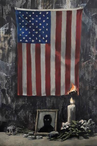 La pintura completa publicada por Banksy, que muestra una bandera estadounidense y una vela encendida junto al retrato de una figura negra