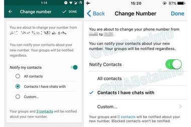 La última beta de Whatsapp para Android incorpora una nueva característica para avisar el cambio de número a los contactos; estará disponible más adelante para el iPhone, Windows Phone y la versión normal de Android