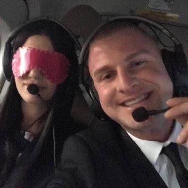 Al estadio la llevó en helicóptero.