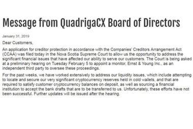 La página web de Quadriga ahora tiene un breve mensaje explicando el proceso legal que enfrenta.
