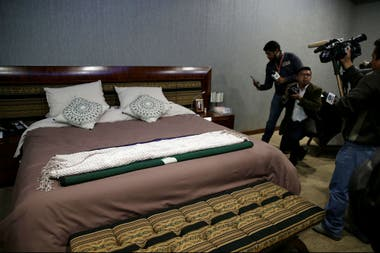 La cama de Evo Morales en la Casa Grande del Pueblo