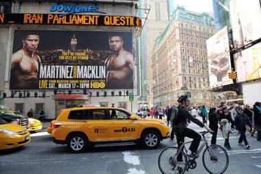 Las avenidas de Nueva York lucían con carteles que promocionaban sus peleas