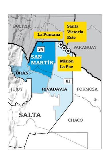 La zona del norte de la provincia de Salta donde están las comunidades wichis visitadas por LA NACION