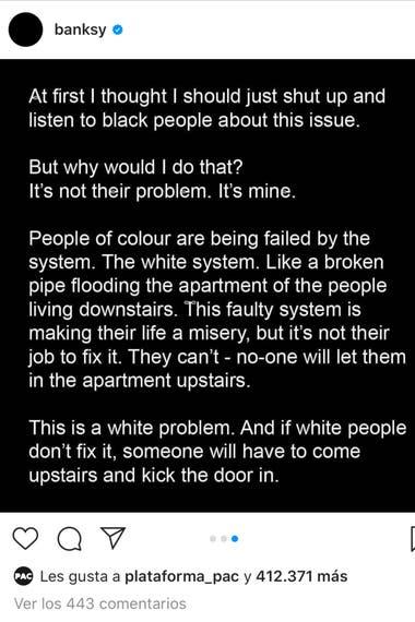 Está presentado en letras blancas sobre fondo negro, como muchas de las declaraciones contra el racismo que se hicieron esta semana