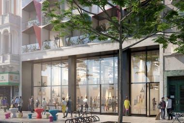 El gran edificio de Casa Campus, sobre la Avenida 9 de Julio, que ofrece habitaciones individuales y espacios comunes