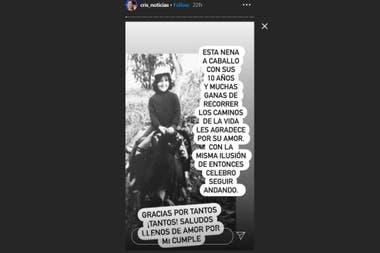 La foto vintage que subió Cristina Pérez para agradecer los saludos de cumpleaños