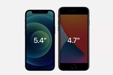 El iPhone 12 mini cuenta con una pantalla más grande en un formato más compacto, comparado con el iPhone SE