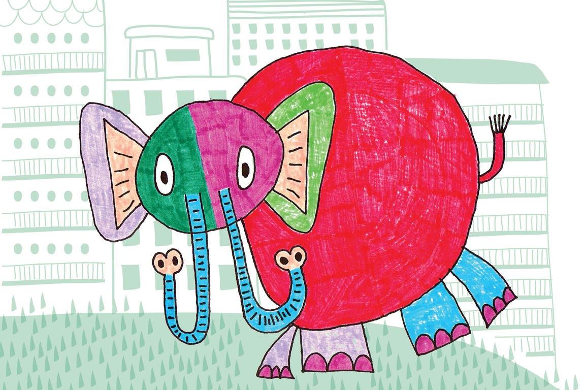 Un elefante con dos trompas, uno de los dibujos de Manuel Nieto