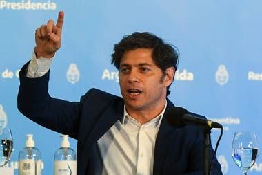 Axel Kicillof durante el anuncio desde Olivos