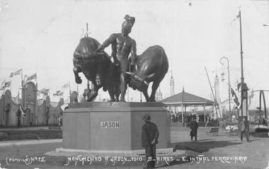 La escultura de Jason y los toros de Aetes. Actualmente está en el zoológico de Leipzig, Alemania.