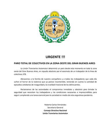 El comunicado de la UTA anunciando el paro de colectivos por el asesinato del conductor Pablo Flores