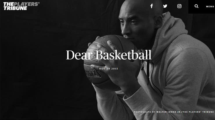 Kobe Bryant anunció su retiro desde The Players Tribune