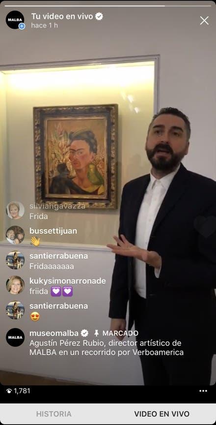Instagram Live con el director del Malba, este mes, que siguieron 1781 personas