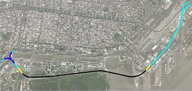La traza de uno de los proyectos se desarrollaba entre el Boulevard de los Italianos y se vinculaba a travs de la autopista Buenos Aires - La Plata por un distribuidor en forma de trompeta