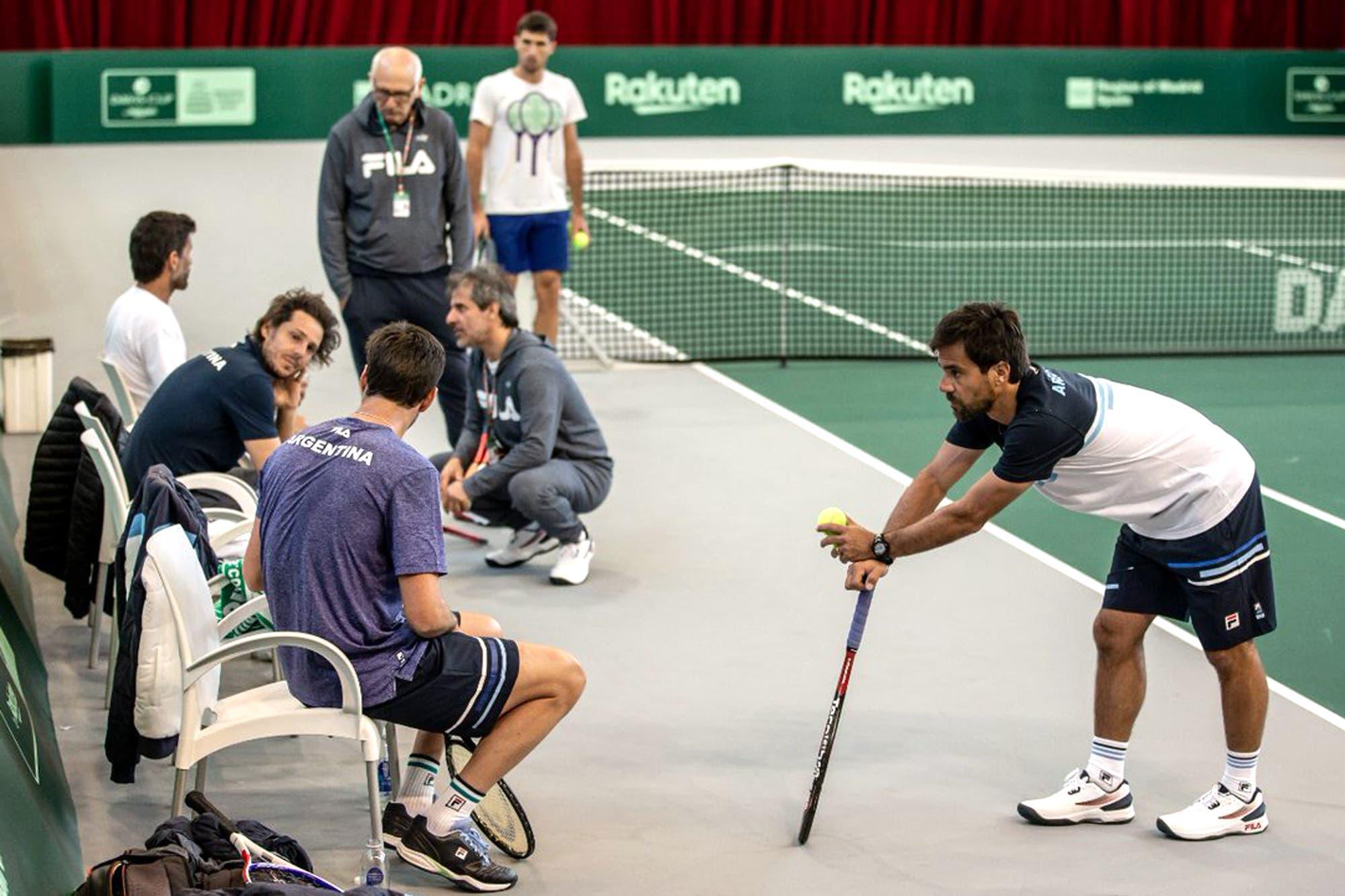 La Argentina ya está en Madrid para la nueva Copa Davis: el quinteto se entrenó en la Caja Mágica