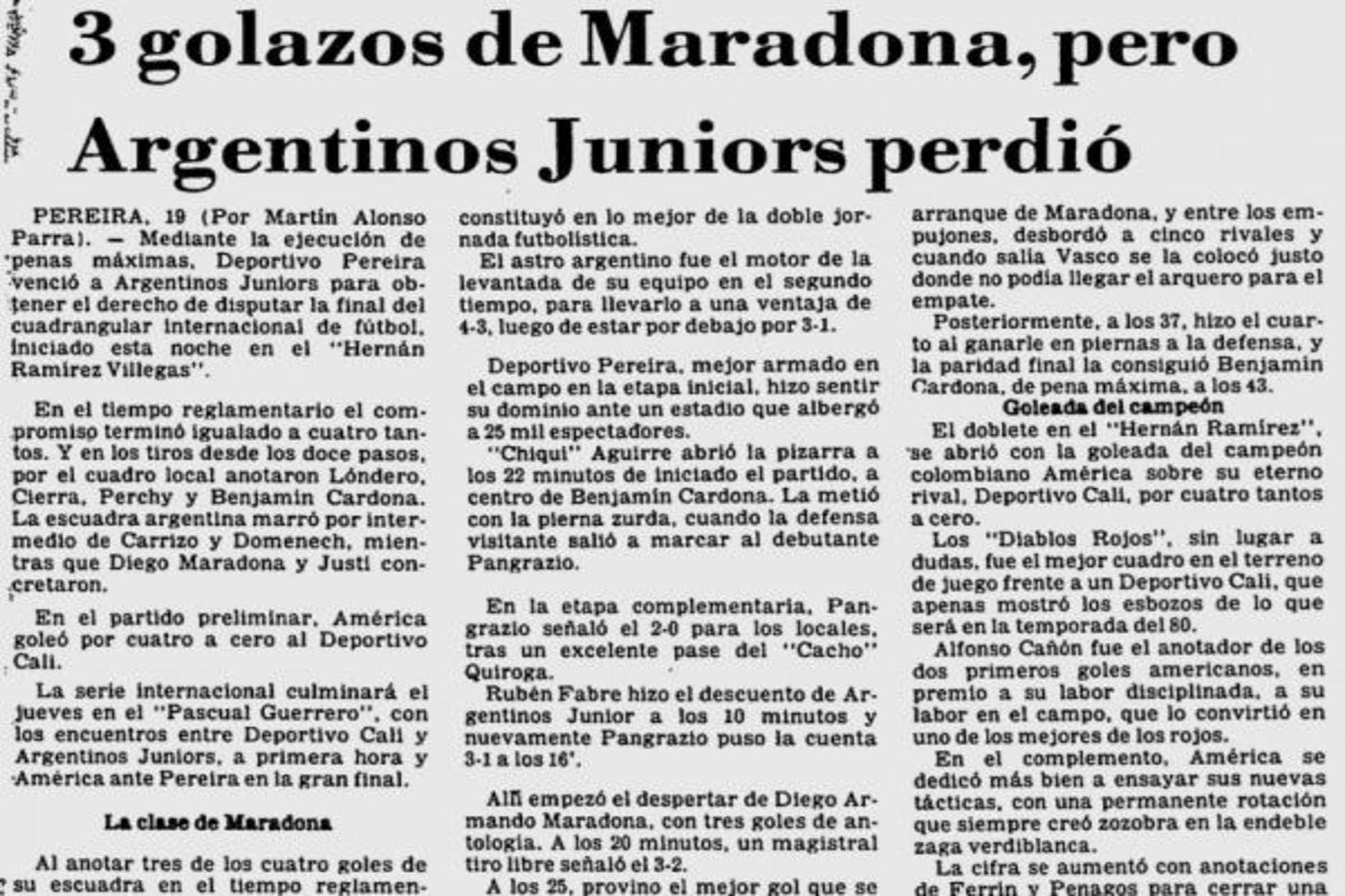 Hace 40 años, Diego Armando Maradona hizo en Colombia el mejor gol de su carrera