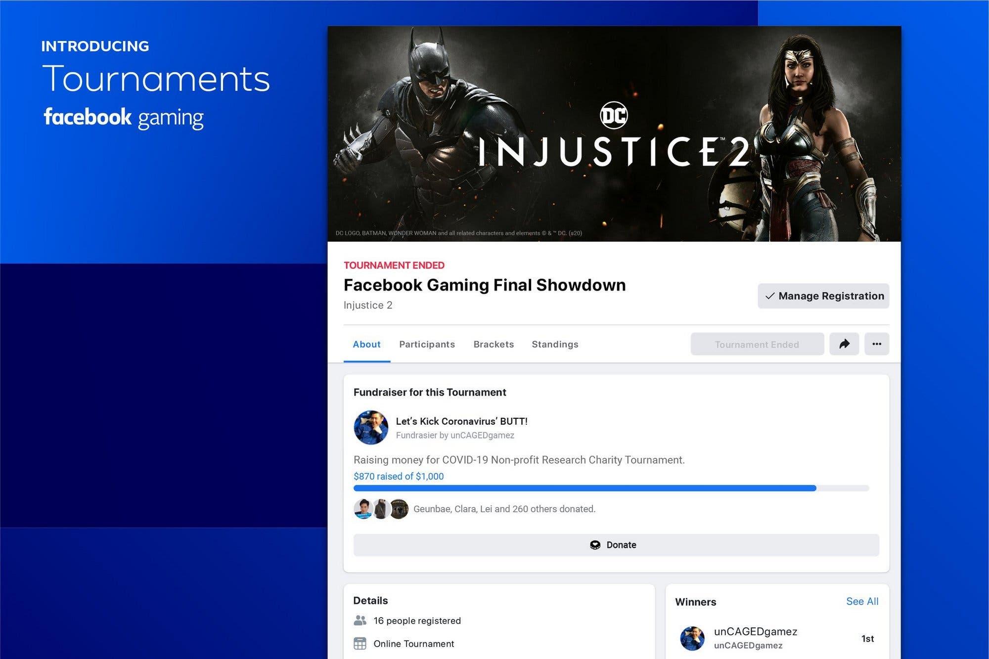 Facebook presenta Torneos, la plataforma para organizar competencias online de videojuegos