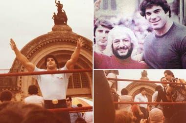 Lou Ferrigno en La Rural en 1979, año en que visitó la Argentina y posó junto a Martín Karadagián