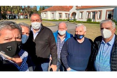 Dirigentes de la CGT en Olivos, luego de una reunión con Alberto Fernández