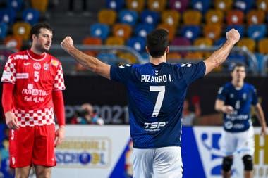 Ignacio Pizarro fue importante con goles en el principio del partido que los Gladiadores les ganaron por 23-19 a los croatas; fue el sexto triunfo argentino contra europeos en mundiales masculinos.